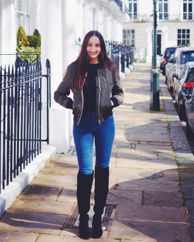 Wearing Missguided jacket, Zara jumper, Wrangler jeans and Aldo boots in Chelsea.