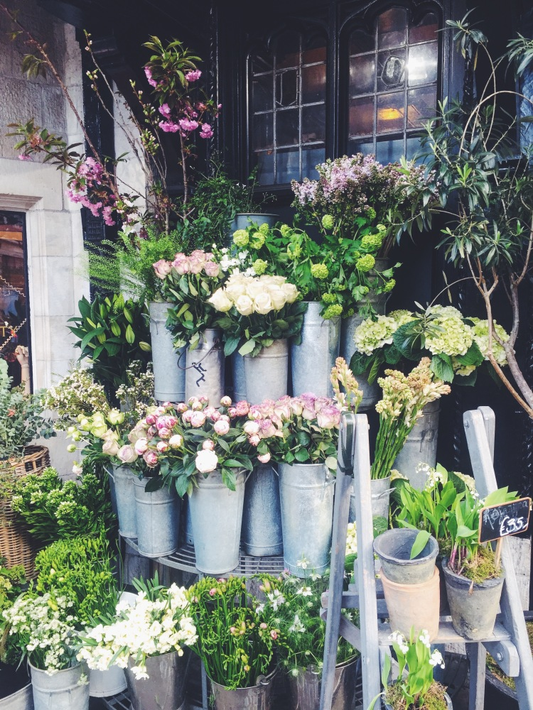 Flower display at Liberty London.