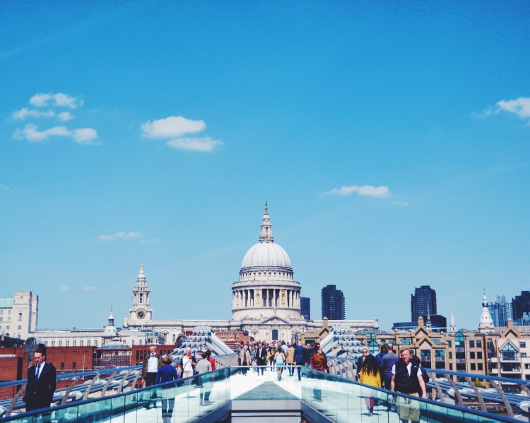 St Paul's Cathedral seen from the Millennium Bridge.