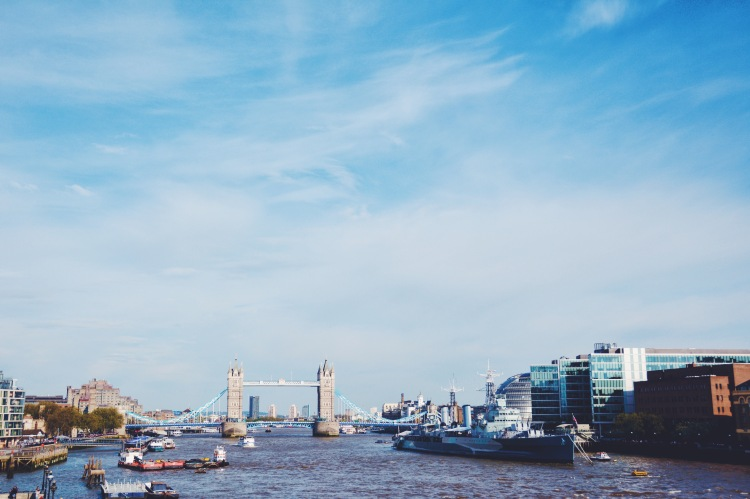 Tower Bridge and the Thames.