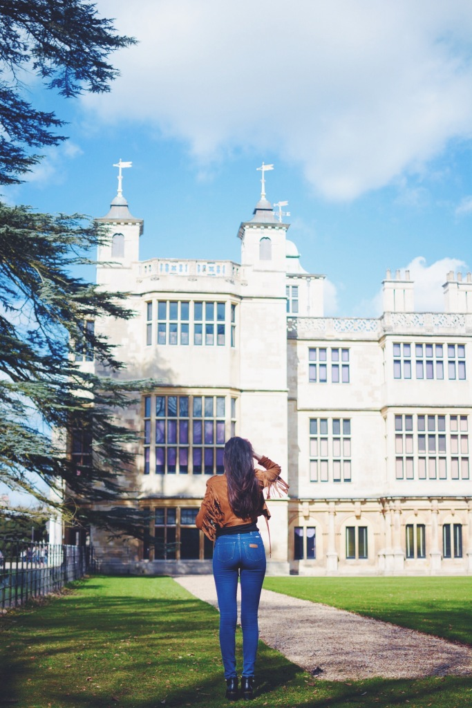 Wearing Missguided jacket, Wrangler jeans and Topshop boots at Audley End.
