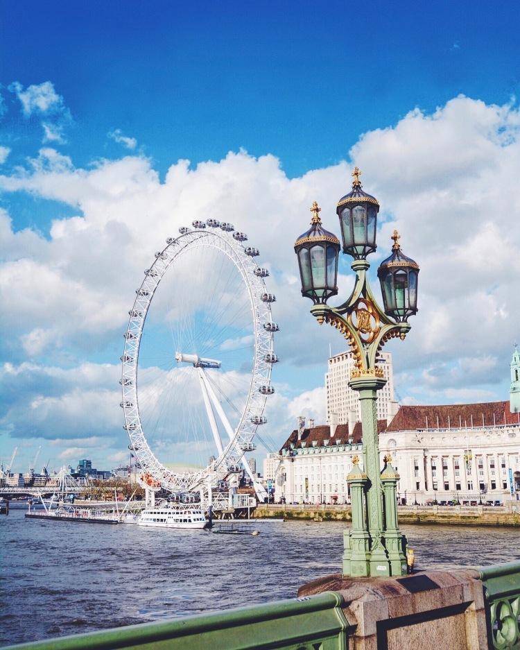 The London Eye seen from Westminster Bridge.