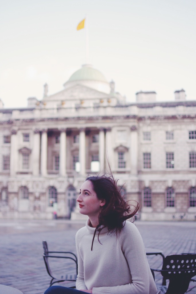 Wearing Country Road jumper at Somerset House.